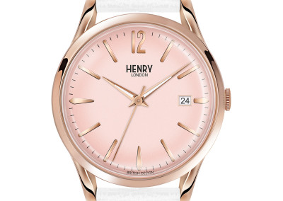 Pimlico Rose Gold WHite Leather Strap